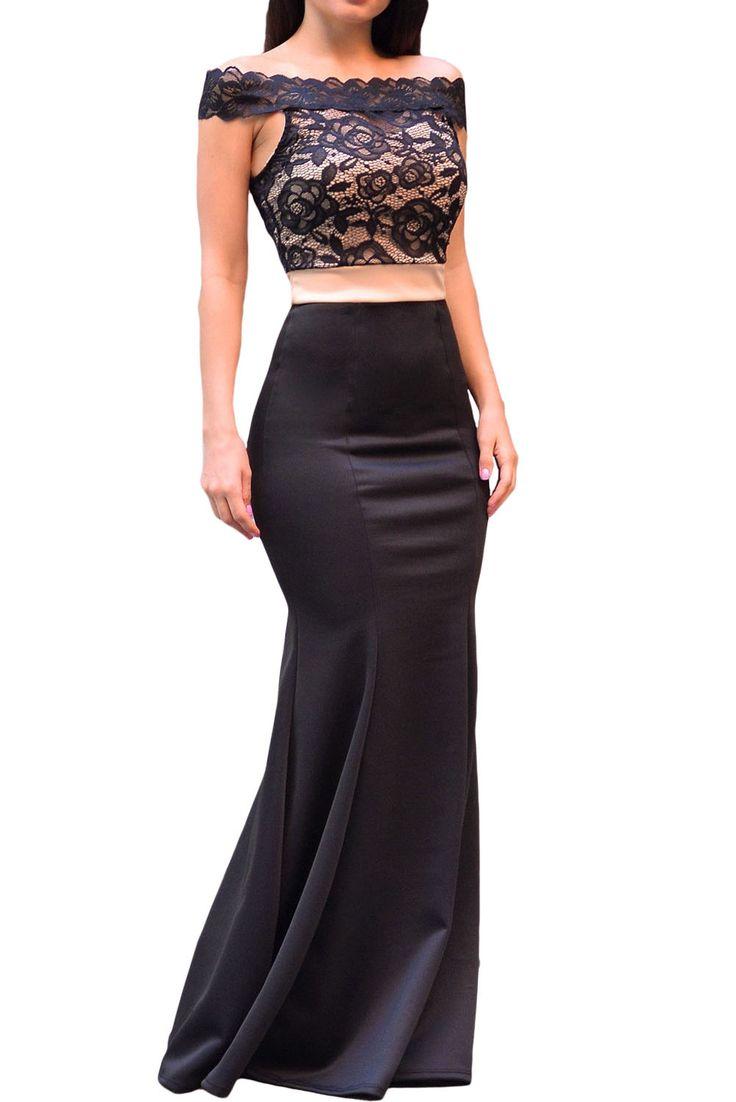 Fashion Dresses : Maxi vestido de corte sirena y cuerpo de encaje
