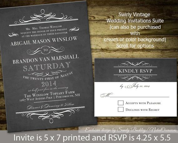 Chalkboard Wedding Invitations - vintage chic, rustic chic, Digital Printable Wedding Suite | Backgrounds can be customized for any wedding $35