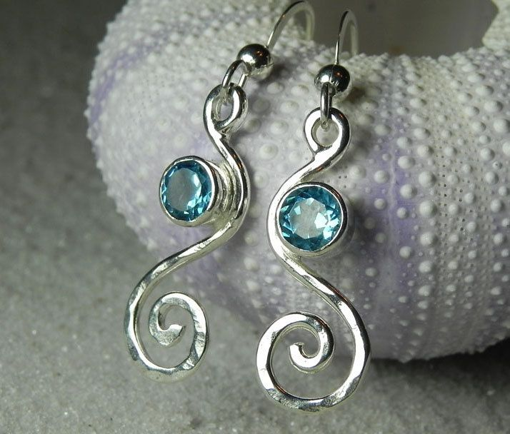 Blue Topaz Earrings - Blue Topaz Jewelry - Gemstone Swirl Spiral Earrings - Aqua Blue Silver Jewelry - Something Blue Beach Bride. $74.00, via Etsy.
