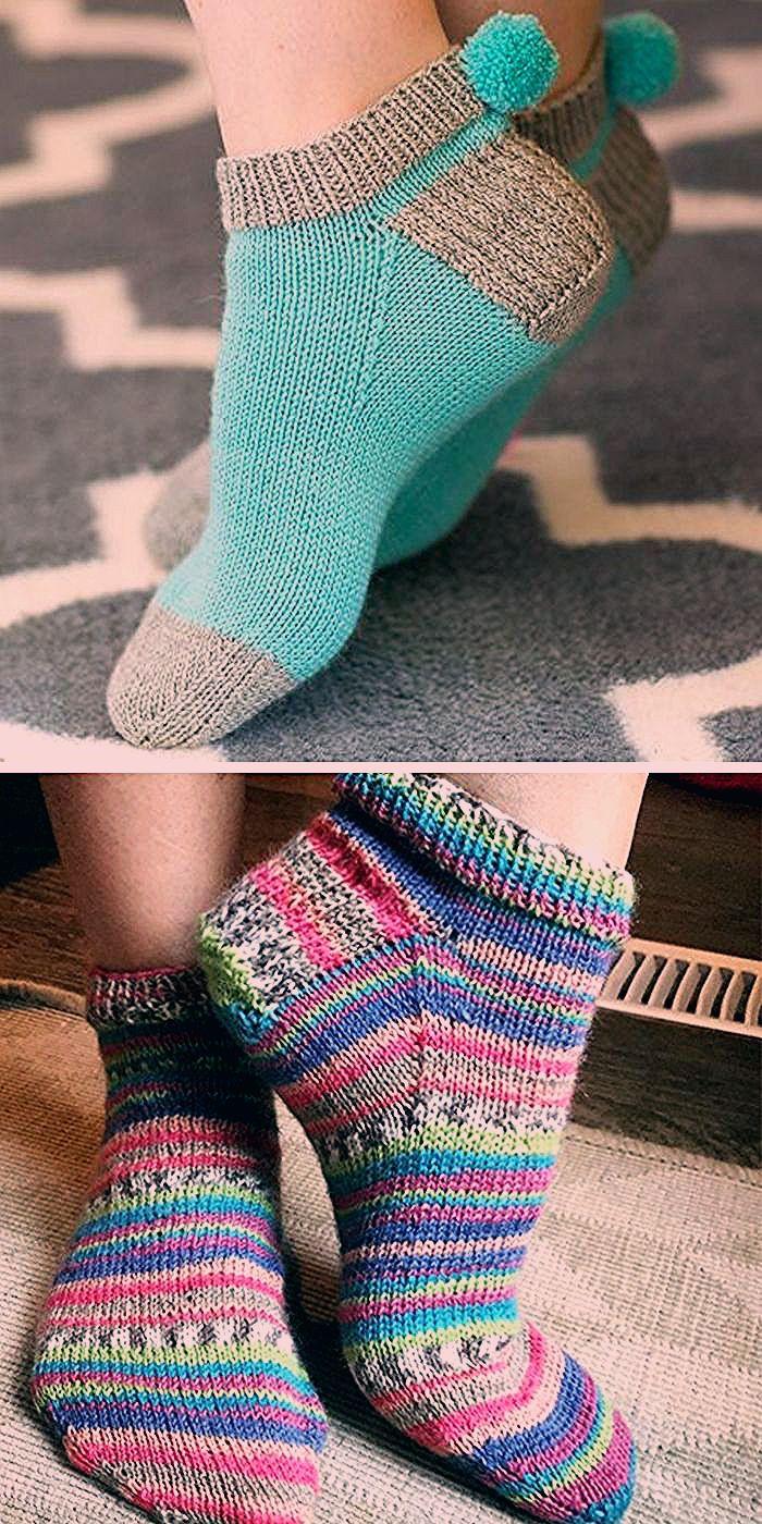 Easy Sock Knitting Patterns in 2020 | Knitted socks free ...