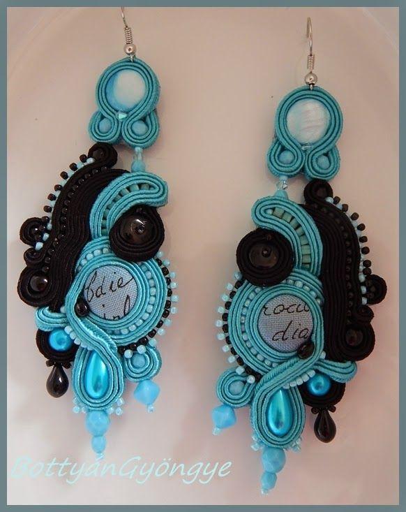 Fekete - kék asszimetrikus sujtás fülbevaló / Black - blue asymmetrical earrings soutache