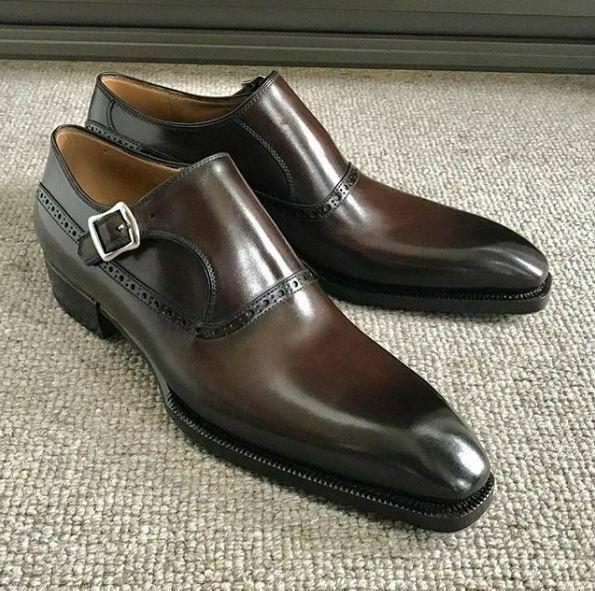Details about Men's Handmade Brown Leather Fashion Shoes Monk Brogue Strap dress Formal Shoe – Handmade shoes