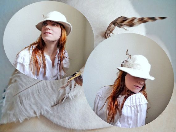 Vintage white fedora Hat Vienna fashion Mid by SuitcaseInBerlin
