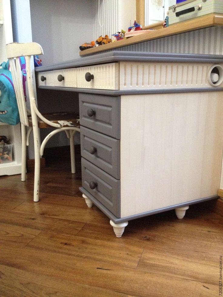 Купить Стол письменный с тумбой - белый, серый, стол письменный, детский письменный стол