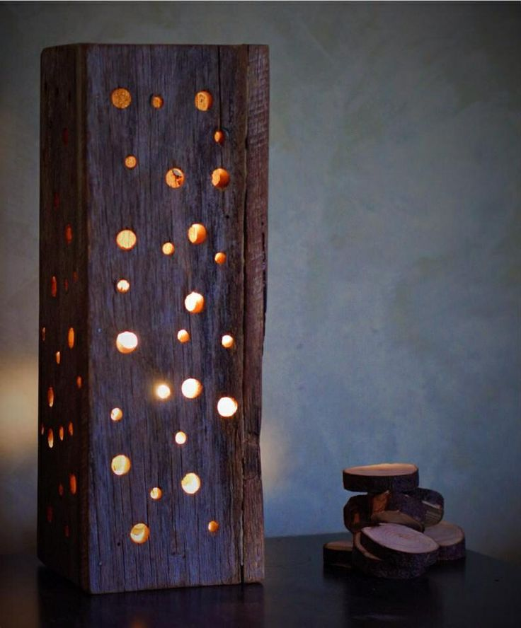 Reclaimed timber table lamp $38 Unique recycled timber table lamp. Made from beautiful cedar, with a natural wax finish. 105mm (d) x 105mm (w) x 295 mm (h)  Comes in 2 distinct designs - 'Spots' or 'Slashes'.  Made to order. Options Spots Slashes