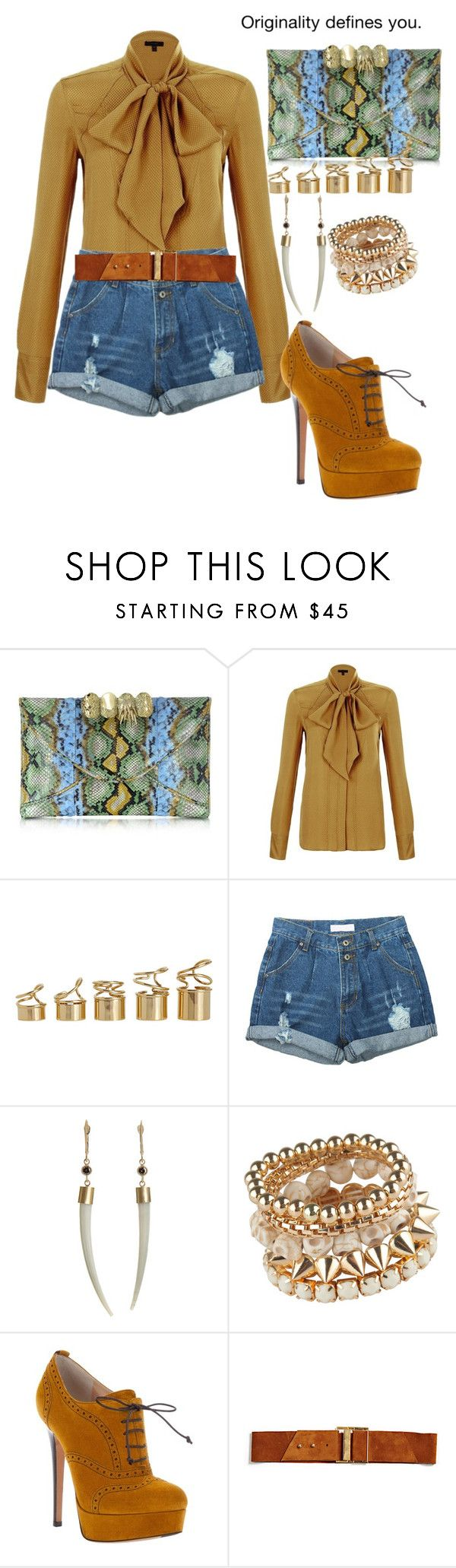 """Daytime look"" by highfashionfiles ❤ liked on Polyvore featuring Maison Du Posh, Belstaff, Balenciaga, Monique Péan, Ballin, Elegantly Waisted and chiffon bow blouse distressed high waisted denim shorts oxford pumps snakeskin clutch"