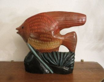 Stone carved fish sculpture paperweight w/ free ship