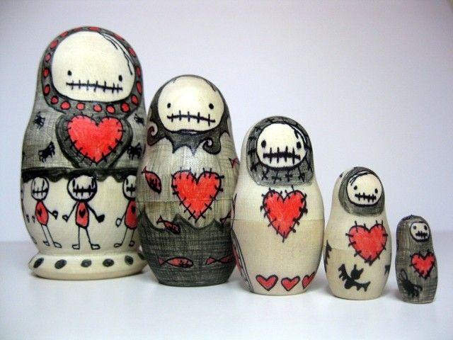 Zombie Nesting Art Dolls