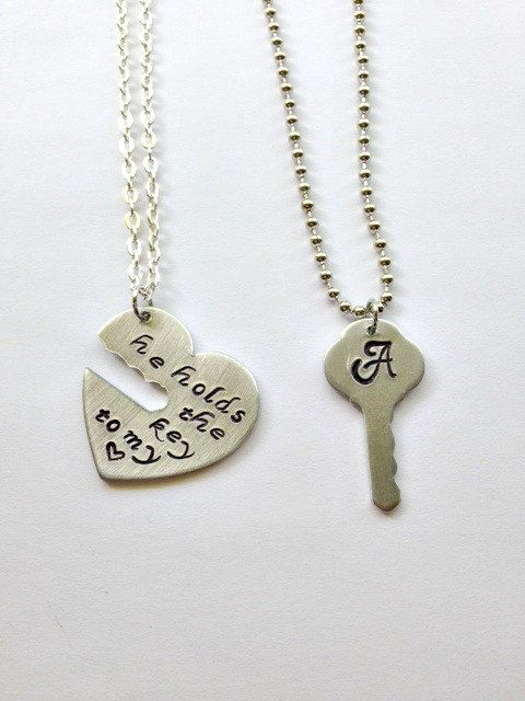 He holds the key to my heart his and hers necklace set, couples jewelry, his and hers, hand stamped gifts, gift for couples, key jewelry