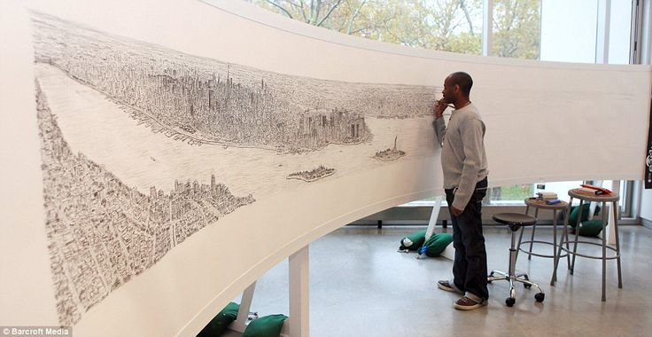 This astonishing 18ft drawing of the world's most famous skyline was created by autistic artist Stephen Wiltshire after he spent just 20 minutes in a helicopter gazing at the panorama.  The unbelievably intricate picture was drawn at Brooklyn's prestigious Pratt Institute from Stephen's memory, with details of every building sketched in to scale.