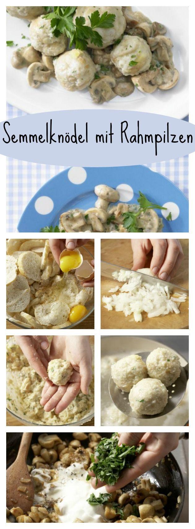 Milch in einem Topf leicht erwärmen. Etwas Muskat zur Milch in den Topf reiben, salzen und mit den Eiern über die Brötchen gießen: Semmelknödel mit Rahmpilzen – smarter Familienessen (2 Erw. und 2 Kinder) |http://eatsmarter.de/rezepte/semmelknoedel-rahmpilzen-smarter