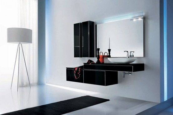 Awesome Modern Black Bathroom Furniture – Onyx by Stemik Living : Awesome Modern Black Bathroom Furniture – Onyx By Stemik Living With White Bathroom Wall Color And Modern Floor Lamp And Wall Mirror And Woodne Flooring Design