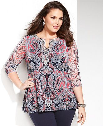 INC International Concepts Plus Size Three-Quarter-Sleeve Printed Kurta Top - Plus Sizes - Macy's