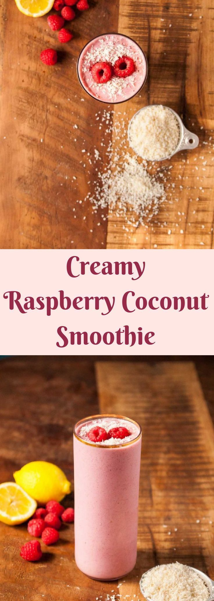 A creamy and dreamy vegan raspberry coconut smoothie, with a dose of cashews and the summer's best red raspberries!