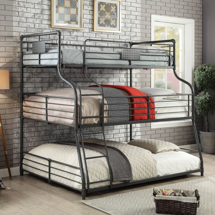 Omari 3 Tier Metal Bunkbed Queen Soot Black HOMES