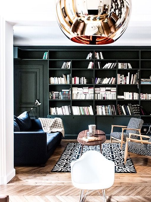 Royal Roulotte Interior Design -★- dark green wall and bookcase