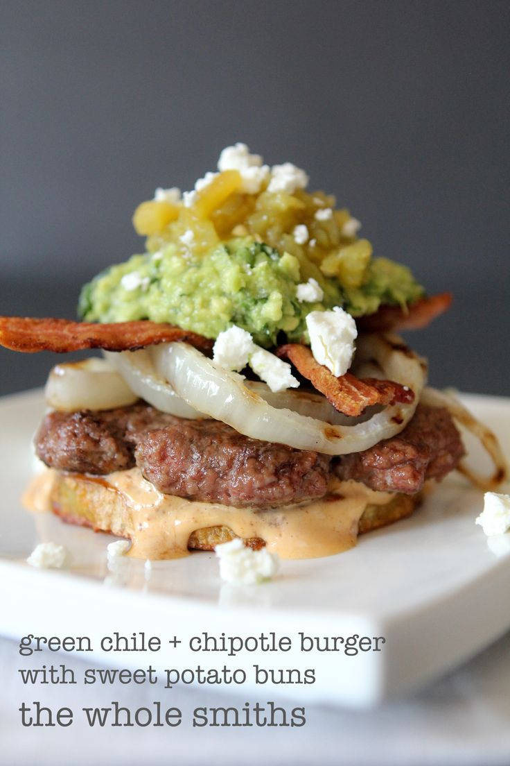 Paleo Green Chile + Chipotle Mayo Burger from the Whole Smiths. A MUST Pin for any BBQ. Paleo friendly, gluten and grain free, Whole30 complaint if you leave the sprinkle of goat cheese off!