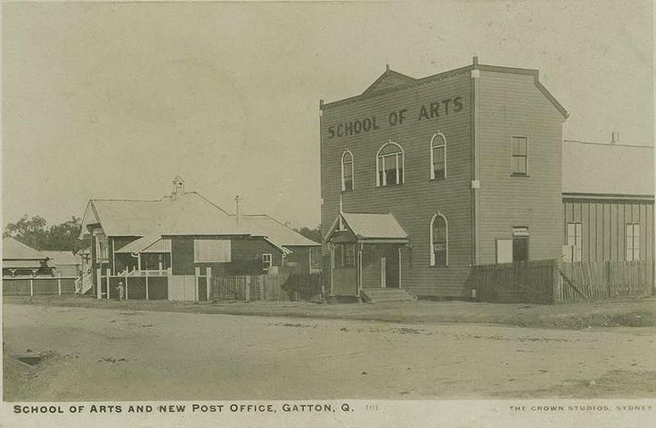 Gatton Post Office and School of Arts. School of Arts burnt down December 1931, built  c1902