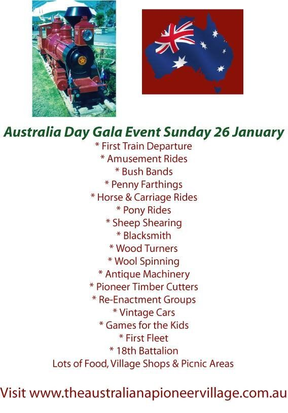 #Australia Day Event -  Train #rides, pony rides, horse and carriage rides, Penny farthings, sheep shearing, blacksmith, wood turners, wool spinning, #antique machinery, #pioneer timber cutters, re-enactment groups, #vintage cars, #games for the kids, first fleet, 18th Battalion.