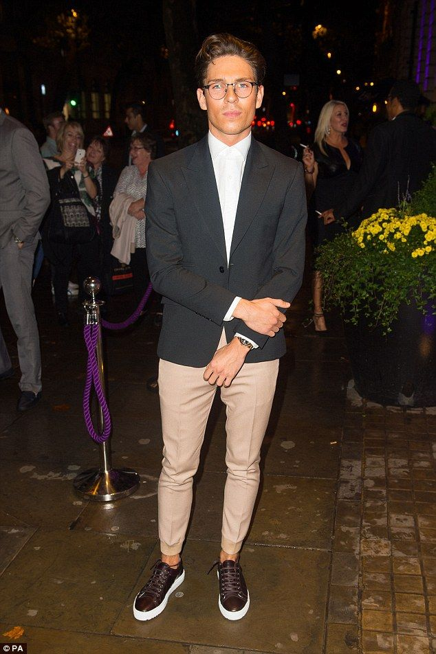 Dapper chap: Joey Essex paired skinny trousers with a wide blazer for the event...