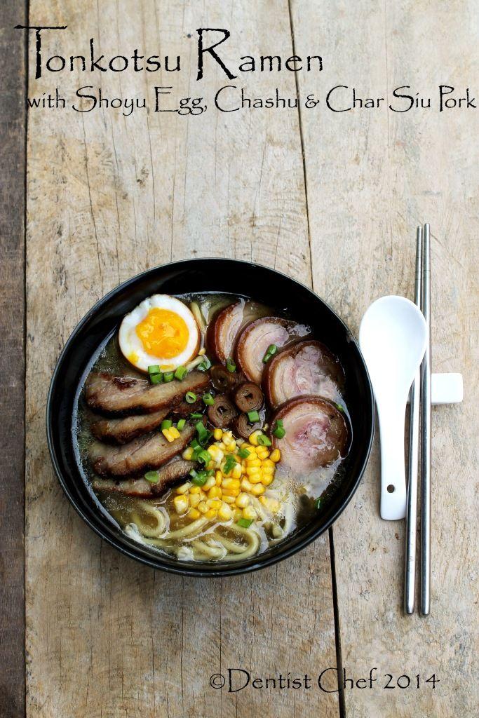Recipe Tonkotsu Ramen (Japanese Pork Bone Noodle Soup) with Chashu Pork Belly & Shoyu Tamago Soy Sauce Marinated Soft Boiled Egg