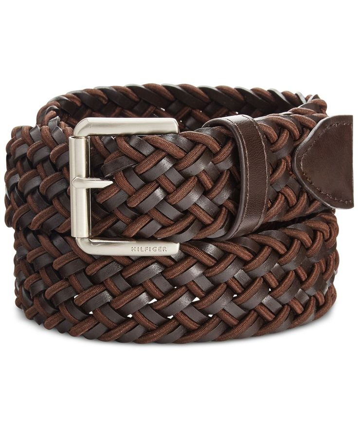 Mix up your casual look with this Tommy Hilfiger belt, featuring a woven design for fresh style and stretch for comfort. | Polyurethane/bonded leather/elastic | Machine washable | Imported | Silver-to