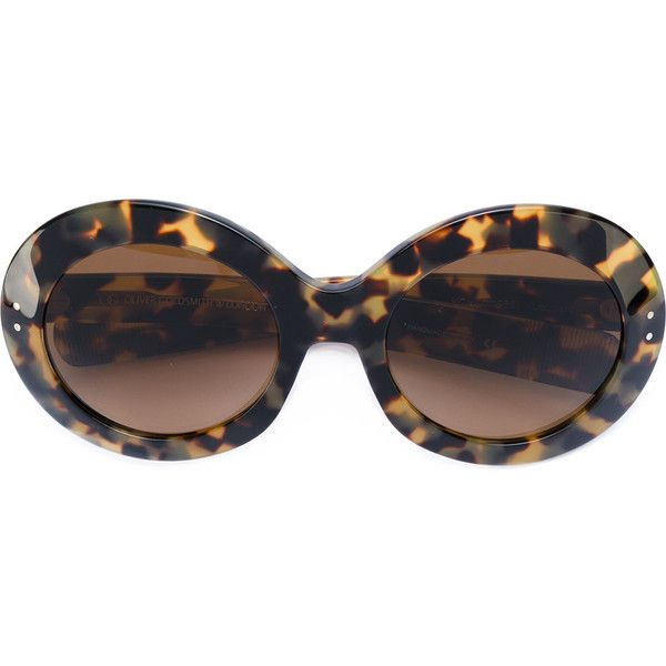 Oliver Goldsmith round sunglasses ($435) ❤ liked on Polyvore featuring accessories, eyewear, sunglasses, brown, oliver goldsmith sunglasses, brown glasses, acetate sunglasses, oliver goldsmith eyewear and round frame sunglasses