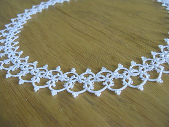 Tatted lace necklace Wedding jewelry for bride Wedding
