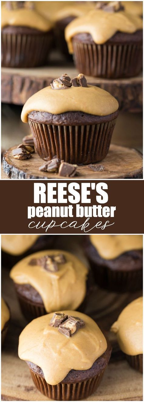 Reese's Peanut Butter Cupcakes - Deliciously sweet and sinfully rich! Chocolate cupcakes stuffed with Reese's Peanut Butter Cup morsels topped with a smooth, creamy peanut butter glaze.