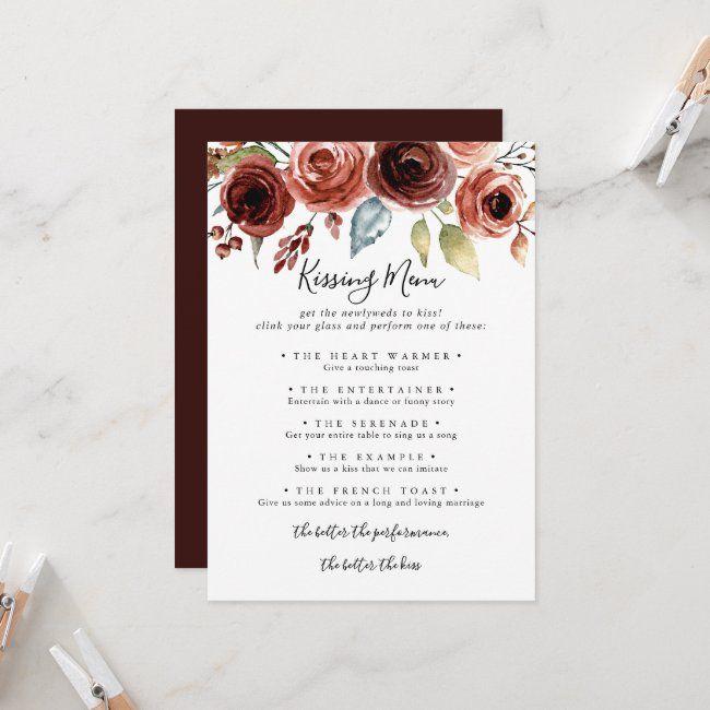 Spring Elegant Wedding Kissing Menu Game Card Zazzle Com Wedding Kiss Wedding Kissing Games Kissing Menu