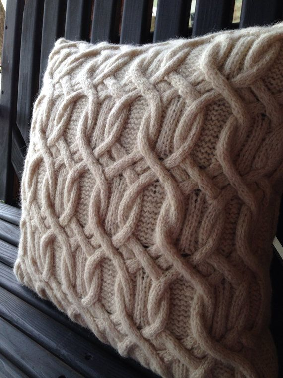Cable knit pillow cover made in Scotland thick by MorningTeaRose