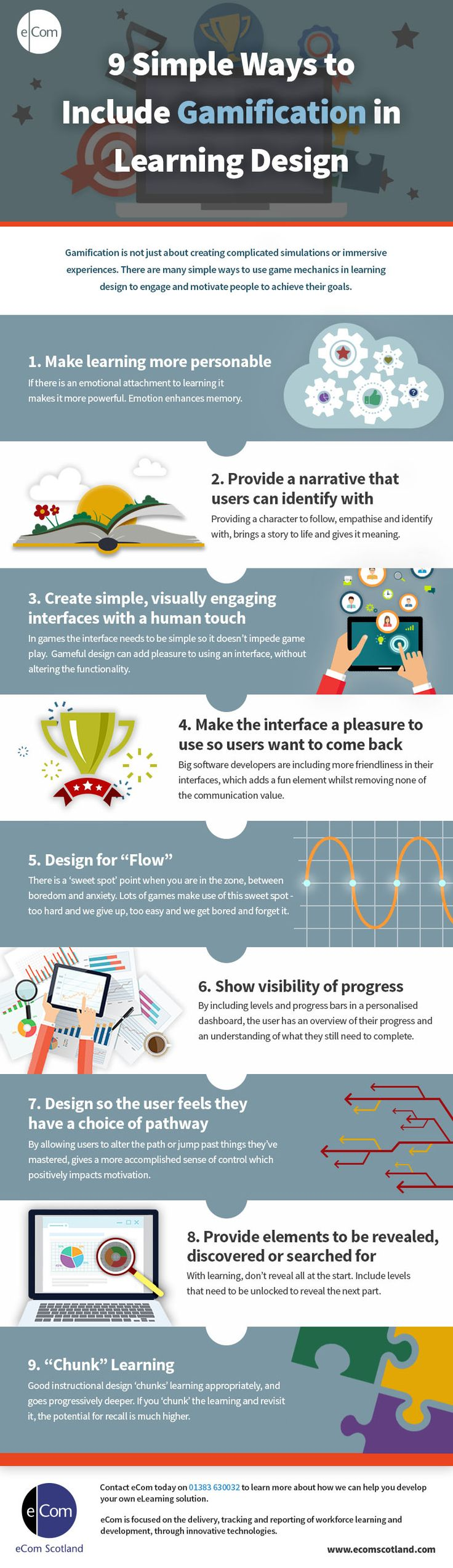 9 Ways to Include Gamification in Learning Design Infographic - http://elearninginfographics.com/9-ways-to-include-gamification-in-learning-design/