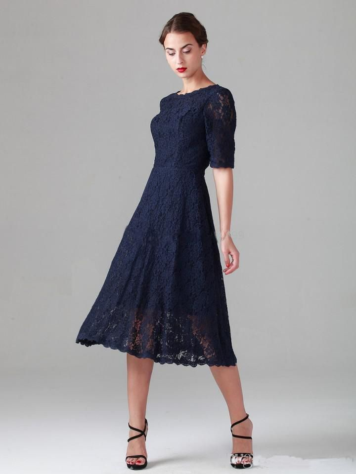 New Arrival Navy Blue Lace Half Sleeves A-Line Mother Of The Bride Dresses 2017 Scoop Tea Length Zipper Back Party Gowns X-100