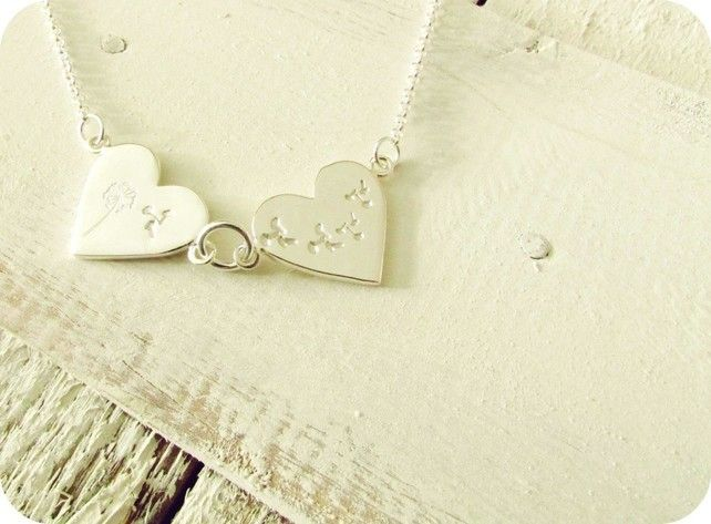 Sterling Silver Buttonsy Stamped Double Heart Dandelion Necklace £40.00