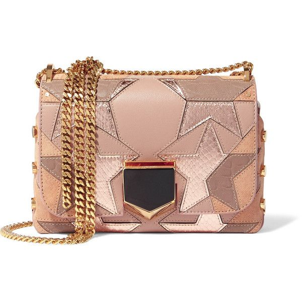 Jimmy Choo Lockett Petite patchwork suede, leather and elaphe shoulder... (16,790 GTQ) ❤ liked on Polyvore featuring bags, handbags, shoulder bags, antique rose, purse shoulder bag, handbags shoulder bags, taupe leather handbag, suede handbags and hand bags