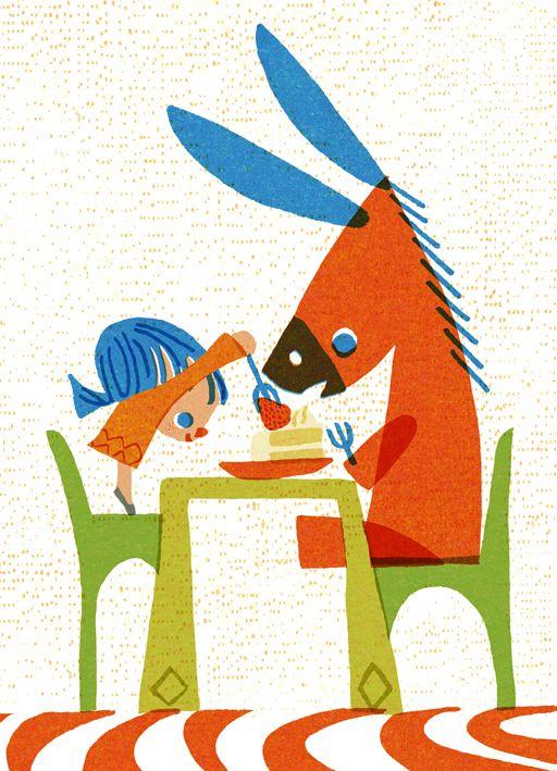 The big eaters(食いしんぼたち)シリーズのイラストです。
