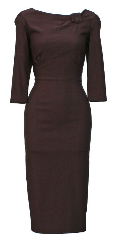 Fabulous chocolate dress with 3/4 sleeves by Stop Staring.