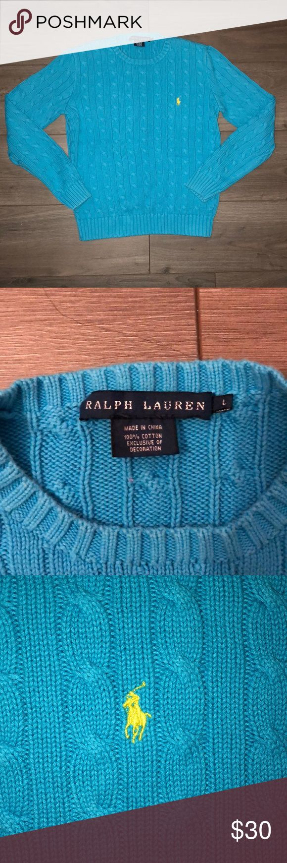 POLO SWEATSHIRT Polo Ralph Lauren.Cable knit sweater. Light blue. Size large. Good condition. Have a question?? Please ask!! Make a bundle with the other Ralph Lauren sweatshirts to get a discount Polo by Ralph Lauren Sweaters Crew & Scoop Necks