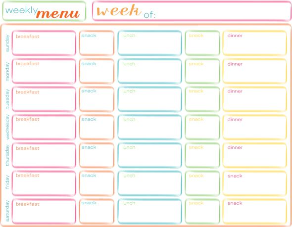 Weekly Menu Free Printable  Free Weekly Menu Templates