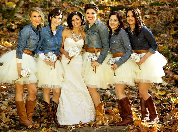 Country rustic wedding bridesmaids cowboy boots