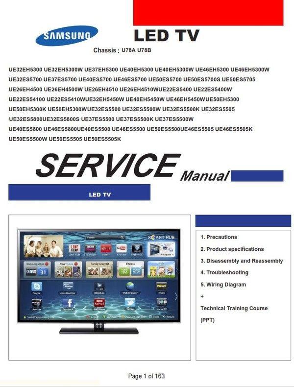 Samsung Ue22es54100 Ue22es5410w Led Tv Service Manual Led Tv Tv Services Sony Led Tv