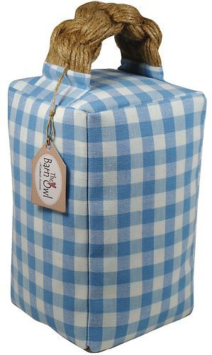 DOOR STOP - Laura Ashley fabric Chambray blue country gingham