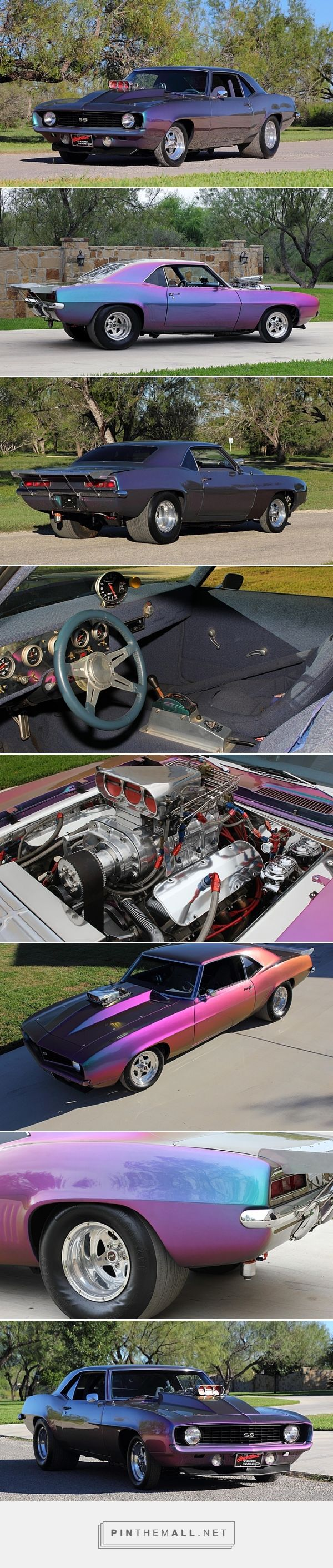 1969 Chevrolet Camaro Race Car Supercharged 497 CI, Chromalusion Paint  - The previous owner claimed that over $100,000 was invested and it ran the 1/4 mile in 8.6 seconds  - 497 CI big block engine  - 871 blower  - Alcohol injection  - 6 point roll cage  - Back halfed and fully tubbed  - Fiberglass cowl hood  - Powerglide transmission with trans brake  - Front disc brakes with line lock  - Everything under the hood is chromed or polished  - Custom Blue tweed interior  - Stainle...