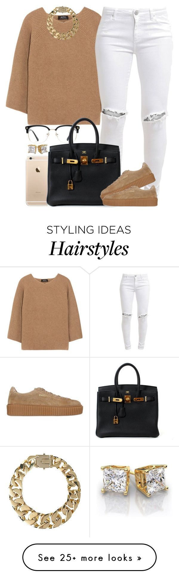 """""""Tan and Gold.✨"""" by livelifefreelyy on Polyvore featuring A.P.C., FiveUnits, GlassesUSA, Hermès, Puma and AllSaints"""