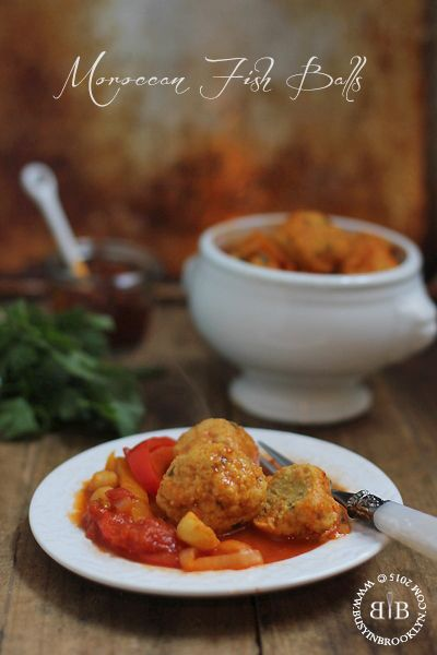 Moroccan style gefilte fish balls in spicy harissa tomato sauce