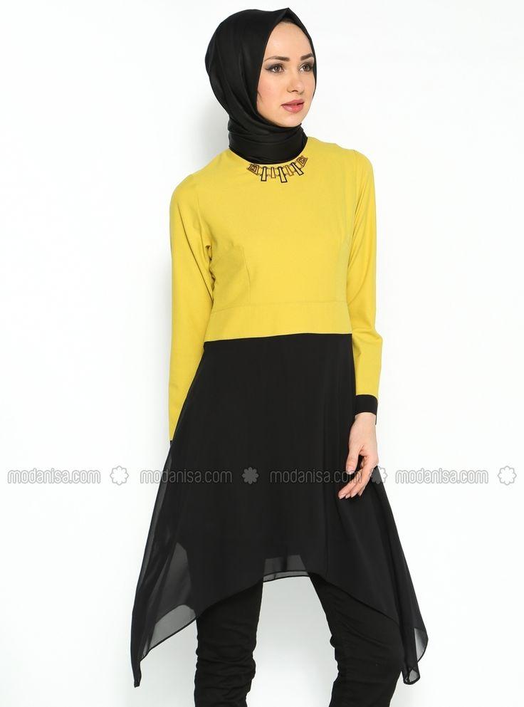 İki Renkli Tunik - Siyah-Sari - Duay