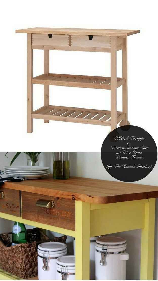 IKEA hacks to make items look custom. ---Make a Förhöja cart look like a custom piece for your kitchen.