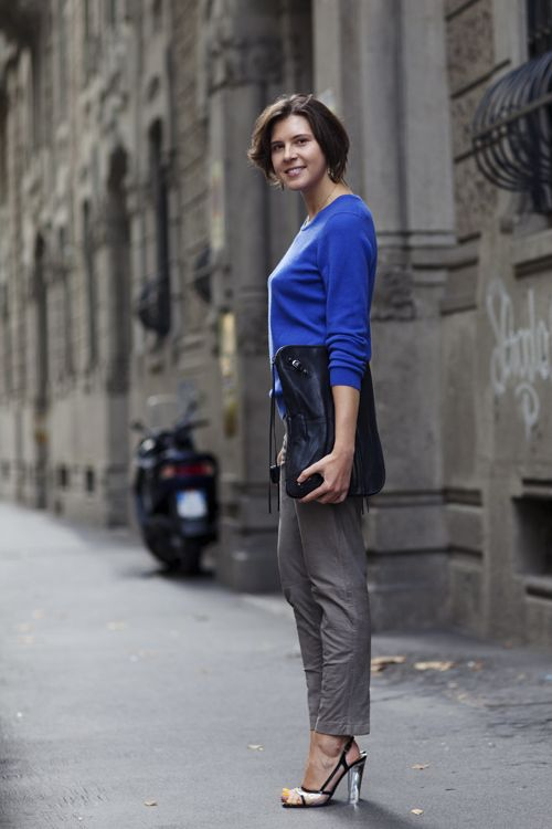 cobalt blueeeePhotos, Milan Street Styles, Fashion, Cerulean Blue, Fall Style, Blue Sweaters, Royal Blue, The Sartorialist, Blue Grey
