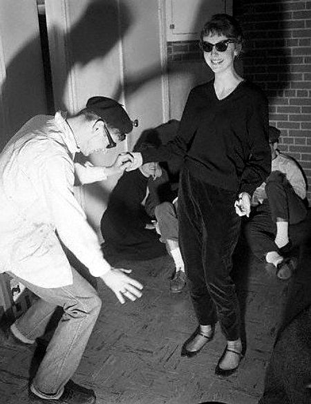 "Beatniks on the dance floor, 1960. I was a ""wannabe"" beatnik. Not cool enough, no matter how much black I wore, how poorly I played the acoustic guitar, and my white lipstick."