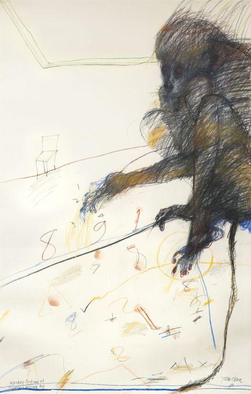John Olsen (Australian, b. 1928), Monkey Looking at Numbers Passing By, 1990. Pastel on paper, 103 x 65.8 cm.